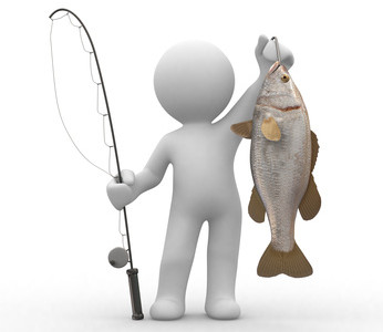 3d human with a fish and a fishing rod